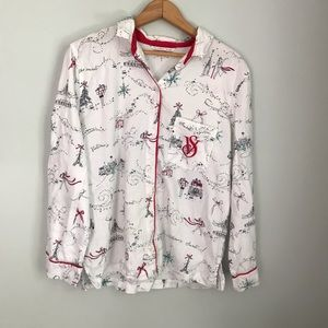 Victoria's Secret holiday button down pajama top